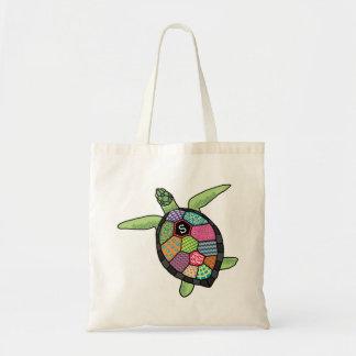 Colorful Patchwork Pattern Monogram Sea Turtle Canvas Bag