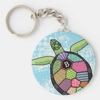 Colorful Patchwork Pattern Monogram Sea Turtle Key Ring
