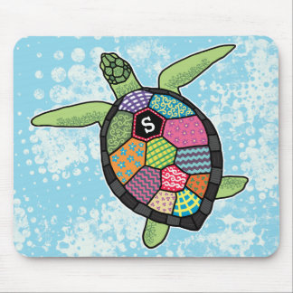 Colorful Patchwork Pattern Monogram Sea Turtle Mouse Mat