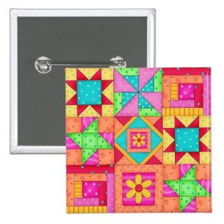 Colorful Patchwork Quilt 9 Block Art Pins
