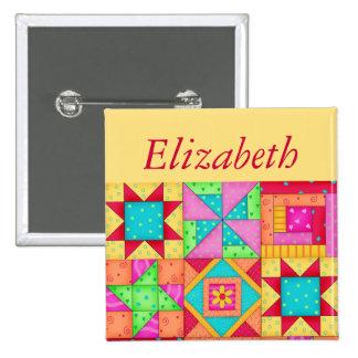 Colorful Patchwork Quilt Block Art Name Badge