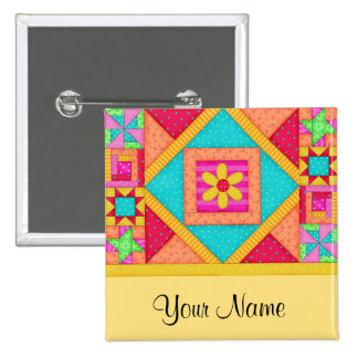Colorful Patchwork Quilt Block Art Pins