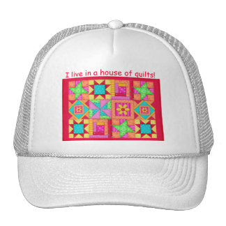 Colorful Patchwork Quilt Blocks Art Cap