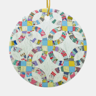 Colorful patchwork quilt christmas ornament