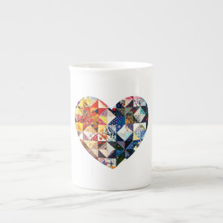 Colorful Patchwork Quilt Heart Bone China Mug
