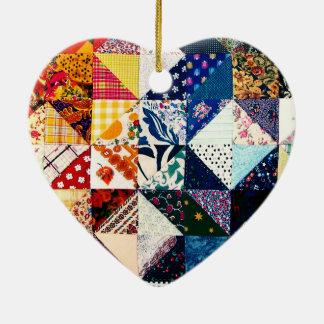 Colorful Patchwork Quilt Heart Christmas Ornament