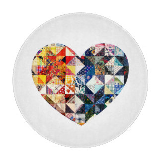 Colorful Patchwork Quilt Heart Cutting Board