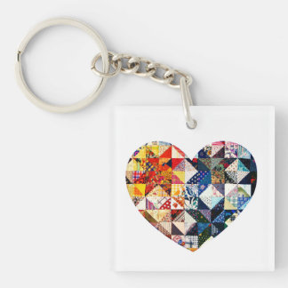 Colorful Patchwork Quilt Heart Key Ring