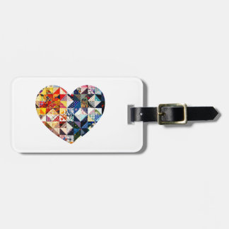 Colorful Patchwork Quilt Heart Luggage Tag