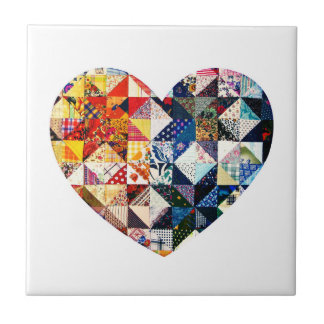 Colorful Patchwork Quilt Heart Small Square Tile