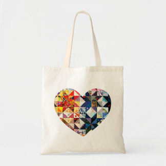 Colorful Patchwork Quilt Heart Tote Bag