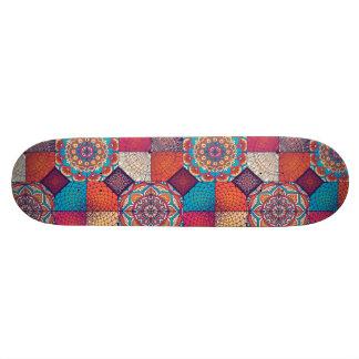 Colorful patchy mandala floral ornament pattern 18.1 cm old school skateboard deck