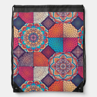 Colorful patchy mandala floral ornament pattern drawstring bag
