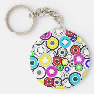 Colorful Pattern Circles Basic Round Button Key Ring