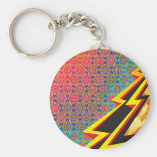 "Colorful Pattern Creation ""Flash Gordon"" Basic Round Button Key Ring"