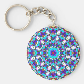 Colorful Pattern Design Basic Round Button Key Ring