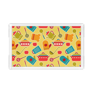 Colorful pattern of kitchen utensils acrylic tray