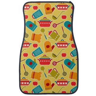 Colorful pattern of kitchen utensils car mat