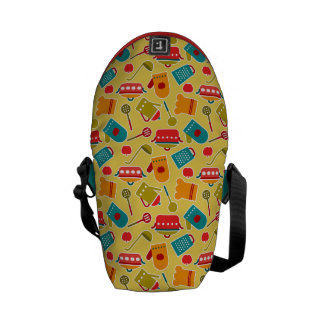 Colorful pattern of kitchen utensils courier bags