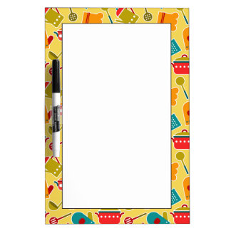 Colorful pattern of kitchen utensils dry erase board