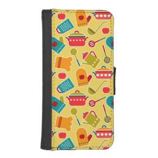 Colorful pattern of kitchen utensils iPhone SE/5/5s wallet case