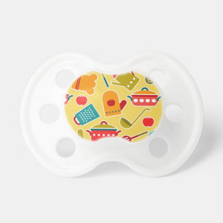 Colorful pattern of kitchen utensils pacifiers