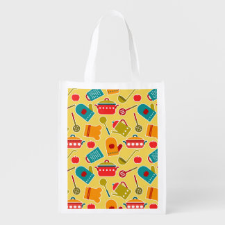 Colorful pattern of kitchen utensils reusable grocery bag