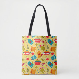 Colorful pattern of kitchen utensils tote bag