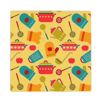 Colorful pattern of kitchen utensils wood coaster