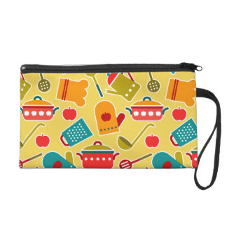 Colorful pattern of kitchen utensils wristlet