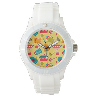 Colorful pattern of kitchen utensils wristwatches