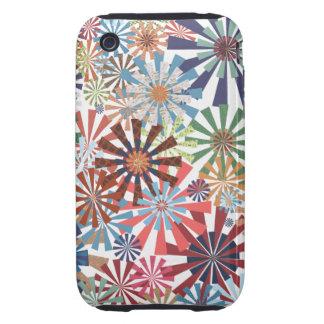 Colorful Pattern Radial Burst Pinwheel Design iPhone 3 Tough Cases