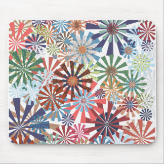 Colorful Pattern Radial Burst Pinwheel Design Mouse Mat