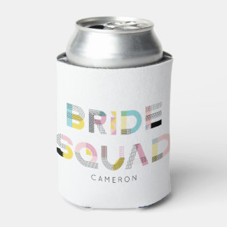 Colorful Pattern Typography Modern Bride Squad Can Cooler