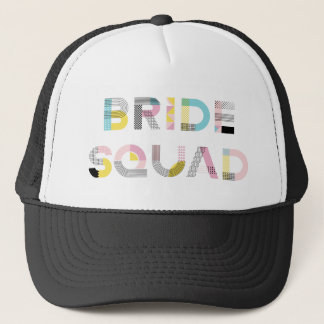 Colorful Pattern Typography Modern Bride Squad Hat