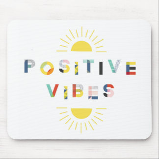 Colorful Pattern Typography Positive Vibes Modern Mouse Mat