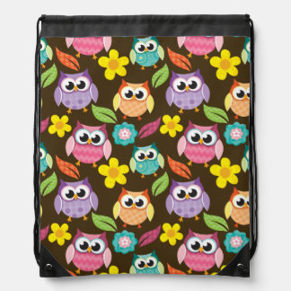 Colorful Patterned Owls and Flowers Drawstring Bag