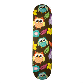 Colorful Patterned Owls and Flowers Skate Board Decks