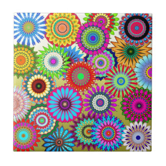 Colorful Patterns Kaleidoscopes Mosaics Small Square Tile