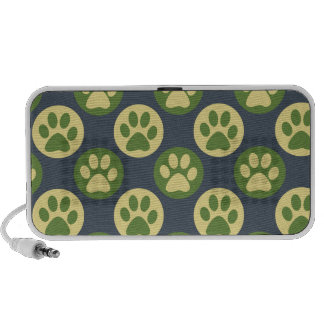 Colorful Paw Print and Polka Dot Pattern iPod Speakers