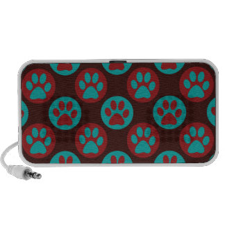 Colorful Paw Print and Polka Dot Pattern Notebook Speakers