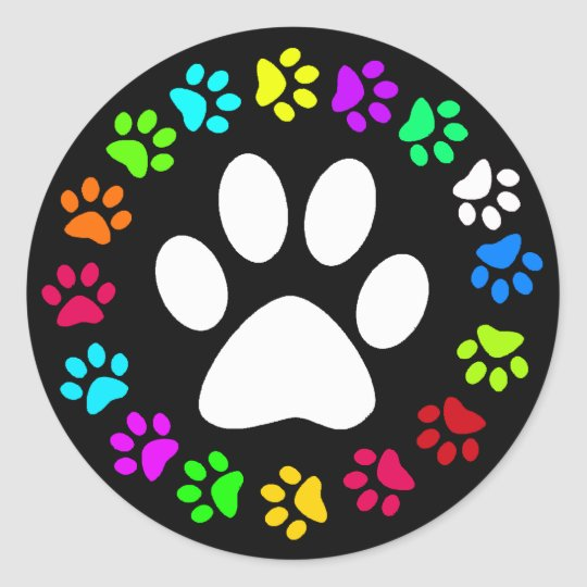 COLORFUL PAW PRINTS CLASSIC ROUND STICKER