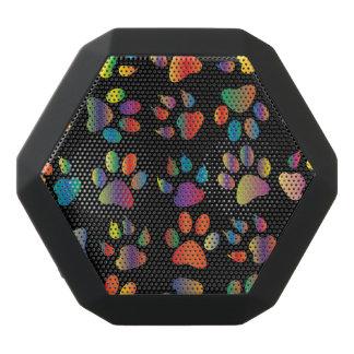 Colorful Paw Prints Pattern (Black)