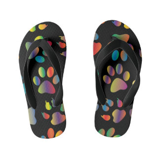 Colorful Paw Prints Pattern (Black) Flip Flops