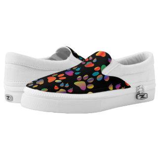 Colorful Paw Prints Pattern (Black) Printed Shoes