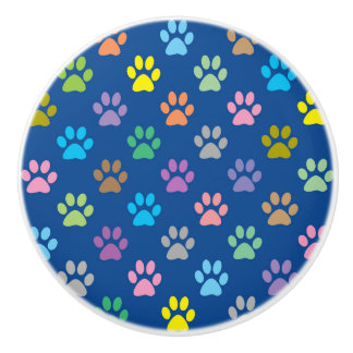 Colorful paw prints pattern ceramic knob