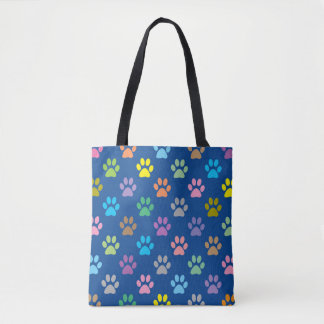 Colorful paw prints pattern tote bag