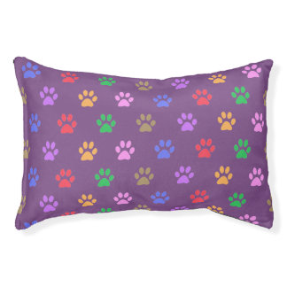 Colorful Paw Prints Pet Bed