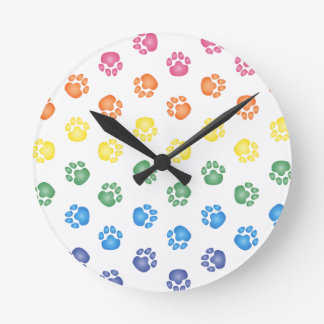 Colorful Paw prints Round Clock