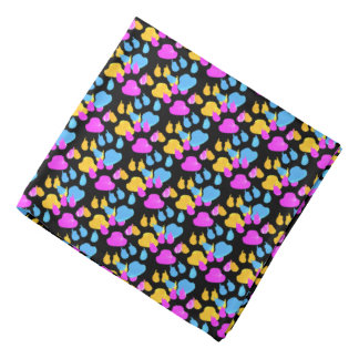 Colorful Paws and Claws Puppy Head Kerchiefs